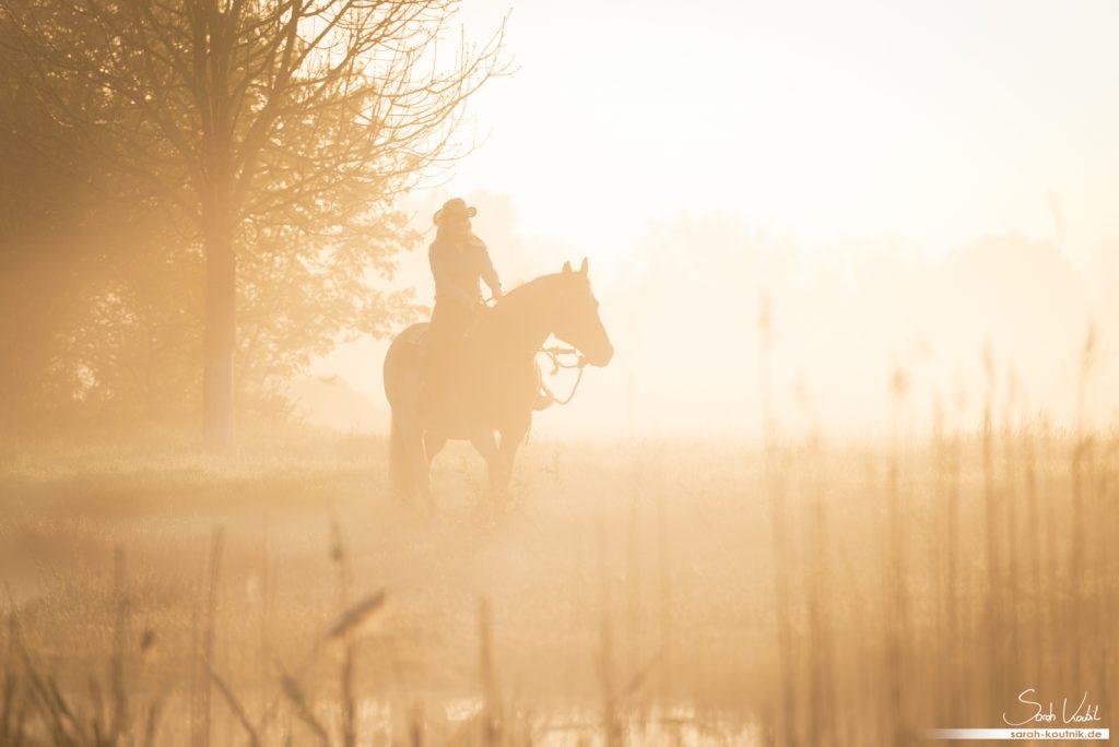 Sarah Koutnik Fotografie | Pferdefotografie München | Sonnenaufgang | Morgensonne | Zauberlicht | Cowgirl