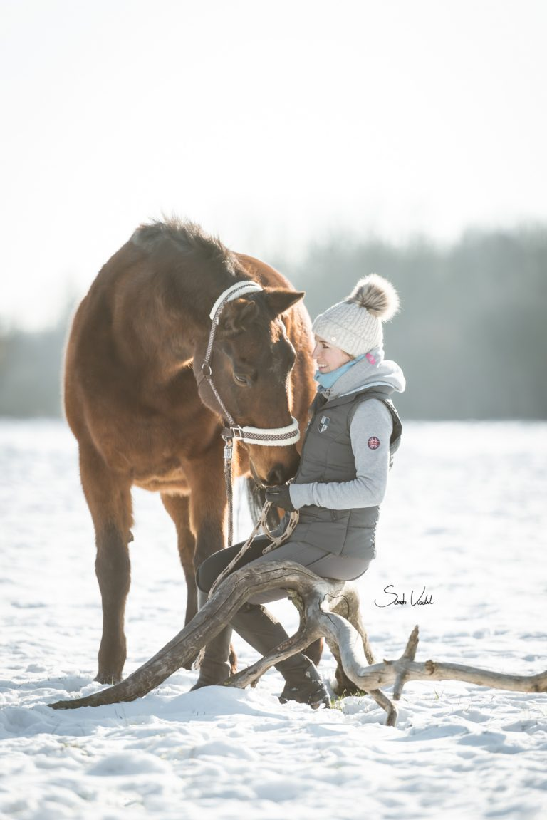 Fotoshooting mit Pferd im Schnee   Pferdefotografie   Sarah Koutnik Fotografie